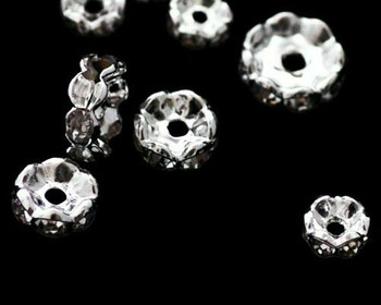 Spacer Bead Synthetic Diamond-Set Silver Plate Base Metal 8mm | Sold By 5pc | LKSD008