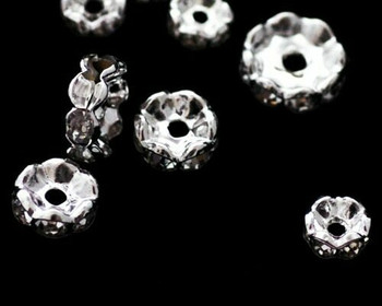 Spacer Bead Synthetic Diamond-Set Silver Plate Base Metal 6mm | Sold By 5pc | LKSD006