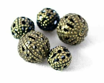 "Round Scroll Filigree Bead | 6mm(.24"") Bronze Finished Base Metal 