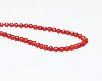 "Round Burgundy (Dyed) Coral Beads 5.5mm | Sold By 1 Strand(7.5"") 