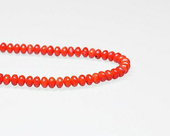 "Oval Red (Dyed) Coral Beads 6x4mm | Sold By 1 Strand(7.5-8"") 