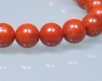 """Round Burgundy (Dyed) Coral Beads 6.5mm 