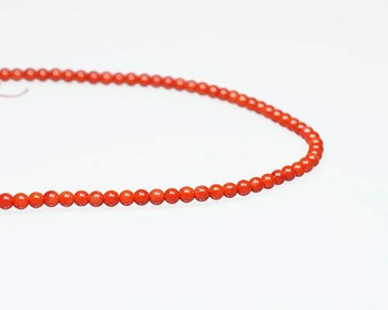 "Round Red (Dyed) Coral Beads 4.5mm | Sold By  1 Strand(7.5-8"") 