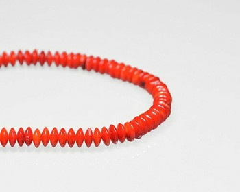 """Saucer Red Coral (Dyed) Beads 3.5x8mm 