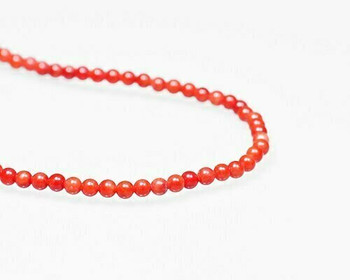 "Round Red Coral (Dyed) Beads 3mm | Sold By  1 Strand(8"") 