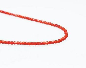 "Dogbone Red Coral (Dyed) Beads 3.5x6mm | Sold By  1 Strand(8"") 