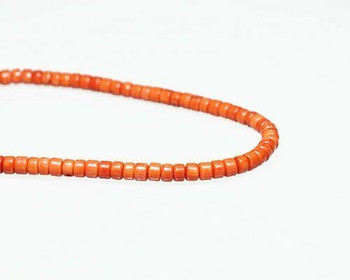"Heishi Red Coral (Dyed) Beads 4.5x6mm | Sold By  1 Strand(8-8.5"") 