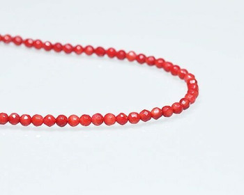 "Faceted Red Coral (Dyed) Beads 4mm | Sold By  1 Strand(7.5-8"") 