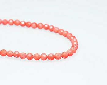 "Faceted Pink (Dyed) Coral Beads 6mm | Sold By 1 Strand(7.5"") 