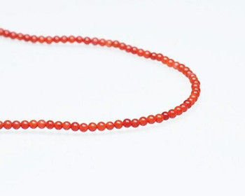 "Round Red (Dyed) Coral Beads 2.5-3mm | Sold By  1 Strand(7.5"") 