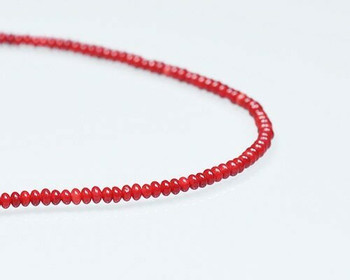 "Rondelle Burgundy (Dyed) Coral Beads 2x3mm | Sold By 1 Strand(8"") 