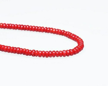 "Rondelle Red Coral (Dyed) Beads 3x6mm | Sold By  1 Strand(8"") 