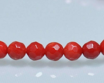"Faceted Red Coral (Dyed) Beads 5mm | Sold By  1 Strand(7"") 