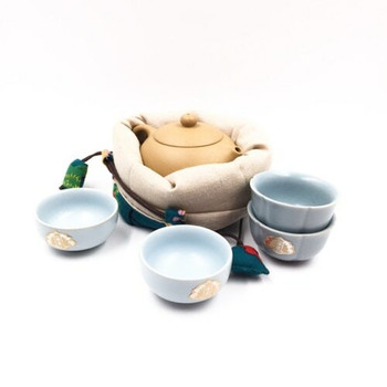 Floral Peacock Teaware Bag | Turquoise | TF15