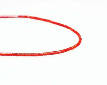 "Round Tube Red Coral (Dyed) Beads 3x5mm | Sold By  1 Strand(8"") 