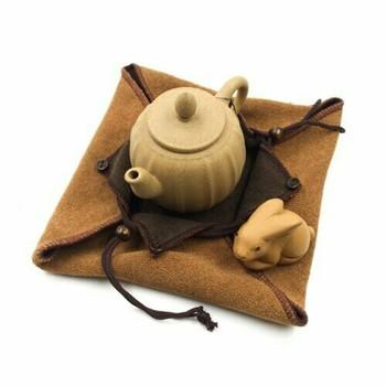 Terry Drawstring Teaware Bag | Medium | Caramel | TF41A