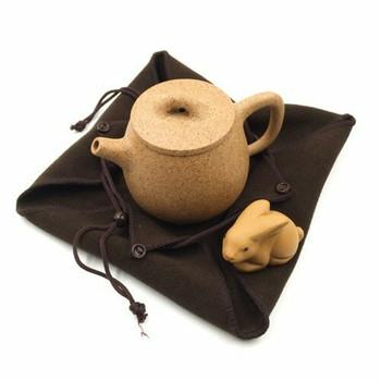 Terry Drawstring Teaware Bag | Medium | Brown | TF41B