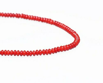 "Rondelle Red Coral (Dyed) Beads 2.5x4mm | Sold By  1 Strand(7.5-8"") 