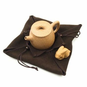 Terry Drawstring Teaware Bag | Large | Brown | TF40B