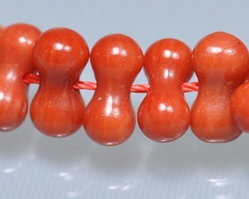 "Dogbone Red Coral (Dyed) Hand-cut Beads 4x8mm | Sold By  1 Strand(9"") 