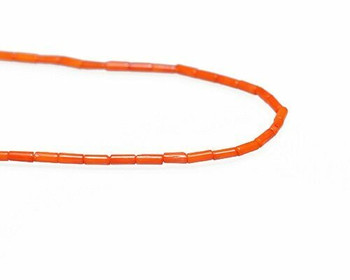 "Round Tube Orange Coral (Dyed) Beads 2x5.5mm | Sold By  1 Strand(8"") 