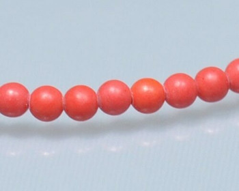 """Round Red Synthetic Coral Beads 3mm 