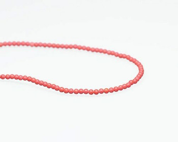 "Round Red Synthetic Coral Beads 3mm | Sold By  1 Strand(7.5"") 