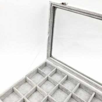 Grey Jewellery Display Box | Grid Interior | GJB01