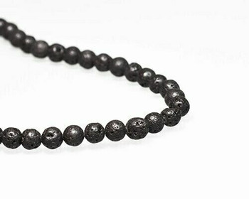 """Round Black Sponge Coral Beads 7mm 