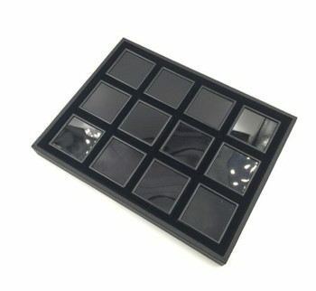 Black Gemstone Display Box | Extra-Large Compartments | GSB05
