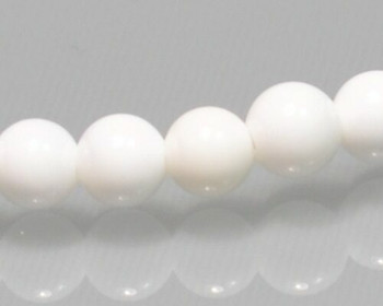 "Round White Tridacna Shell Beads 4mm | Sold By 1 Strand(8"") 