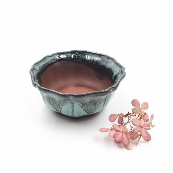 Small Plant Pot | 9 x 4 cm | Turquoise Drip | XXZ45