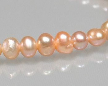 "Near Round Peach Freshwater Pearls 5-6mm | Sold By 1 Strand(7.5"") 