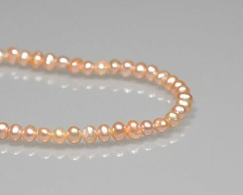 """Near Round Peach Freshwater Pearls 5-6mm   Sold By 1 Strand(7.5"""")   BS0046"""