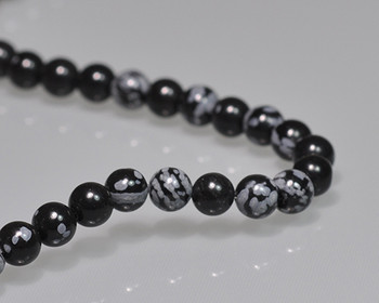 """Round Black&White Obsidian Beads 6mm   Sold by 1 Strand(7.5"""")   BS0114"""
