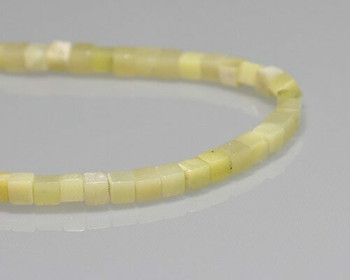 "Cube Lemon Green Agate Beads 4-4.5mm | Sold by 1 Strand(8"") 