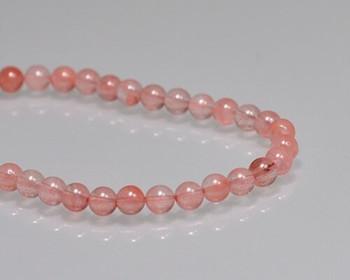 "Round Peach Quartz Beads 5mm   Sold by 1 Strand(7.5"")   BS0089"