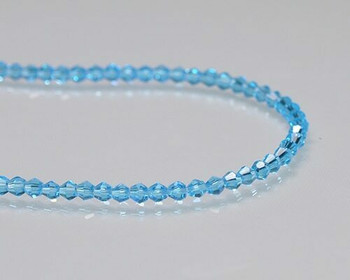 "Faceted Bicone Caribbean Blue Crystal Beads 3x3 | Sold by 1 Strand(12"") 