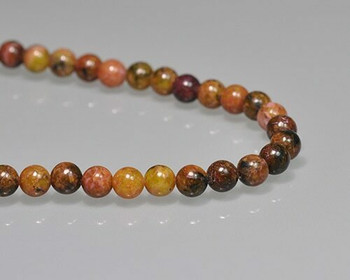 "Round Red-yellow Quartz Beads 6mm | Sold by 1 Strand(7.5"") 