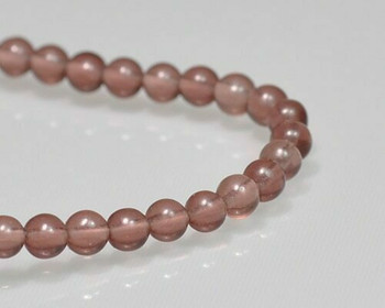 "Round Pink Glass Beads 4mm | Sold by 1 Strand(8"") 