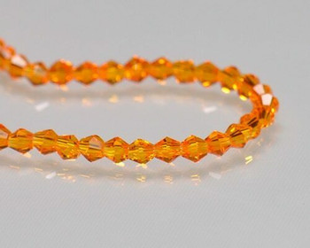 "Faceted Bicone Tangerine Crystal Beads 3x3 | Sold by 1 Strand(12"") 