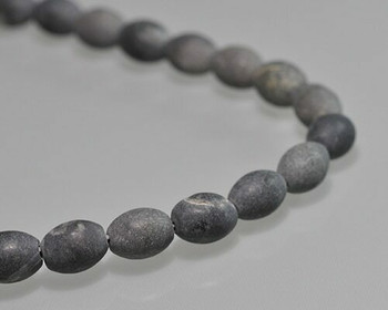 "Barrel Black Matt Finish Stone Beads 8x10mm | Sold by 1 Strand(7.5"") 