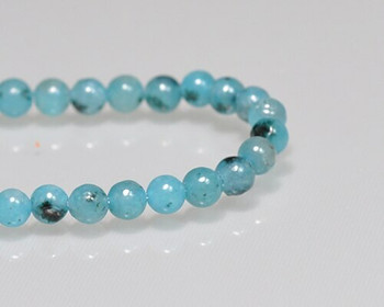 "Round Ocean Blue Quartz Beads 4mm | Sold by 1 Strand(7.5"") 