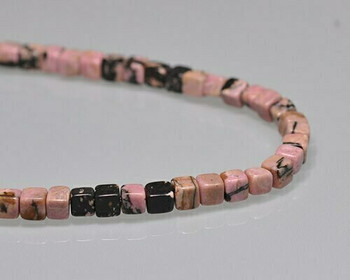 "Cube Pink & Black Rhodonite Beads 5mm | Sold by 1 Strand(8"") 