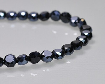 "Rondelle Side-hole Jet Hematite Crystal Beads 6x4mm | Sold by 1 Strand(10"") 