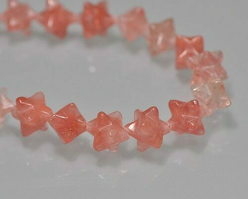 Merkaba Star Rose Quartz Carving Beads 8x8mm | Sold by 1 bead | BS0126