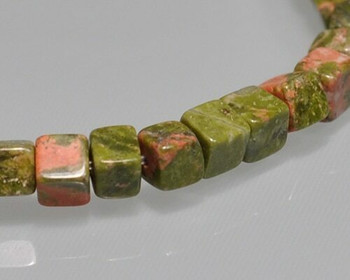 "Cube Green & Red Stone Beads 4mm | Sold by 1 Strand(7.5"") 
