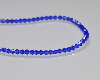 "Faceted Bicone Capri Blue Crystal Beads 3x3.5 | Sold by 1 Strand(12"") 