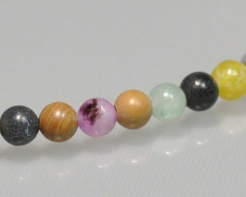 """Round Mixed Colour Semi-gem Beads 3mm   Sold by 1 Strand(7.5"""")   BS0081"""
