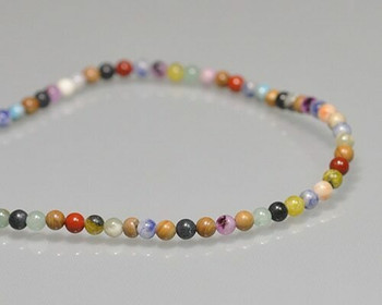 "Round Mixed Colour Semi-gem Beads 3mm | Sold by 1 Strand(7.5"") 